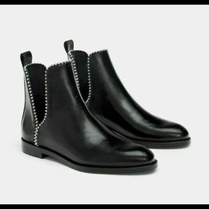 Zara Flat Ankle Cut Out Boots With Studs